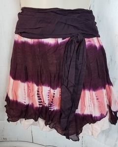 Free People 6 Tie Dye Mini Skirt Layered Boho